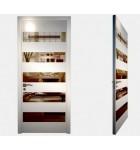 """Межкомнатные стеклокаркасные двери. Модель """"01 LP"""". Фабрика Аксиома. Серия Лайн. Покрытие зеркало. Цвет белый"""