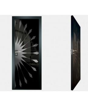 """Межкомнатные стеклокаркасные двери. Модель """"02 MB"""". Фабрика Аксиома. Покрытие зеркало. Цвет моноколор черный"""