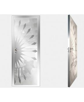 """Межкомнатные стеклокаркасные двери. Модель """" 02 MW"""". Фабрика Аксиома. Покрытие зеркало. Цвет моноколор белый"""