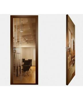 """Межкомнатные стеклокаркасные двери. Модель """"03 В"""". Фабрика Аксиома. Покрытие зеркало. Цвет бронза"""
