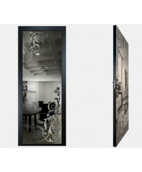 """Межкомнатные стеклокаркасные двери. Модель """"05 G"""". Фабрика Аксиома. Покрытие зеркало. Цвет графит"""