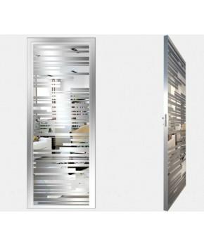 """Межкомнатные стеклокаркасные двери. Модель """"06 S"""". Фабрика Аксиома. Покрытие зеркало. Цвет серебро"""