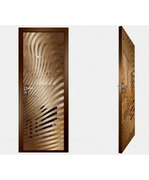 """Межкомнатные стеклокаркасные двери. Модель """"07 В"""". Фабрика Аксиома. Покрытие зеркало. Цвет бронза"""