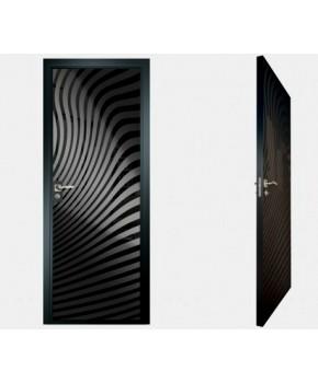 """Межкомнатные стеклокаркасные двери. Модель """"07 MB"""". Фабрика Аксиома. Покрытие зеркало. Цвет моноколор черный"""
