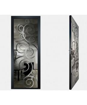 """Межкомнатные стеклокаркасные двери. Модель """"08 G"""". Фабрика Аксиома. Покрытие зеркало. Цвет графит"""