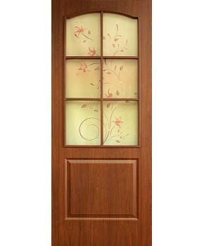 """Межкомнатные двери """"Классика"""" ПО + ФП. Фабрика Омис. Покрытие пленка ПВХ. Цвет - орех"""