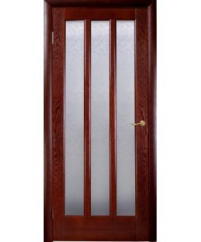 """Межкомнатные шпонированные двери """"Трояна"""" ПОО 3 стекла.  НСД. Цвет - каштан"""