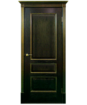 """Межкомнатные шпонированные двери """"Вена - Ш"""" ПГ.  Двери Белоруссии. Цвет - черная патина в золоте"""