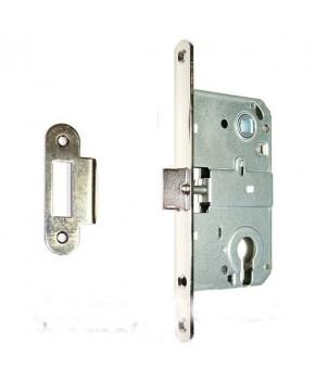 Дверной врезной механизм под цилиндр. Цвет хром