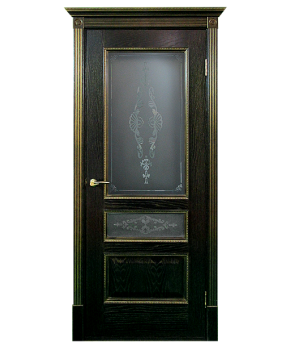 """Межкомнатные шпонированные двери """"Вена - Ш"""" ПО.  Двери Белоруссии. Цвет - черная патина в золоте"""