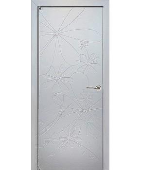 """Межкомнатные шпонированные двери """"Ромашка"""" ПГ.  WoodOk. Цвет - эмаль белая"""