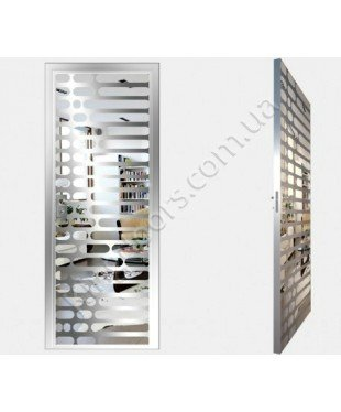 """Межкомнатные стеклокаркасные двери. Модель """"01 S"""". Фабрика Аксиома. Покрытие зеркало. Цвет серебро"""