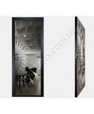 """Межкомнатные стеклокаркасные двери. Модель """"02 G"""". Фабрика Аксиома. Покрытие зеркало. Цвет графит"""