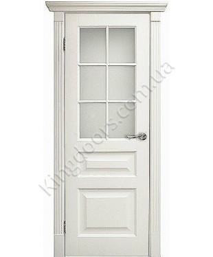 """Межкомнатные шпонированные двери """"Tecoro k-2 """" ПО с решеткой.  WoodOk. Цвет - белая эмаль"""