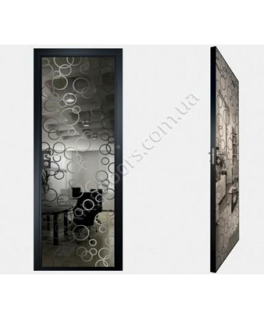 """Межкомнатные стеклокаркасные двери. Модель """"04 G"""". Фабрика Аксиома. Покрытие зеркало. Цвет графит"""