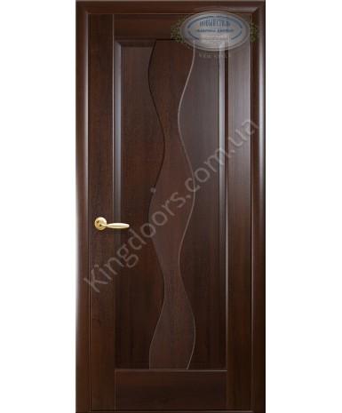 """Межкомнатные двери """"Волна"""",ПГ, пленка ПВХ, фабрика """"Новый стиль"""", цвет - каштан."""