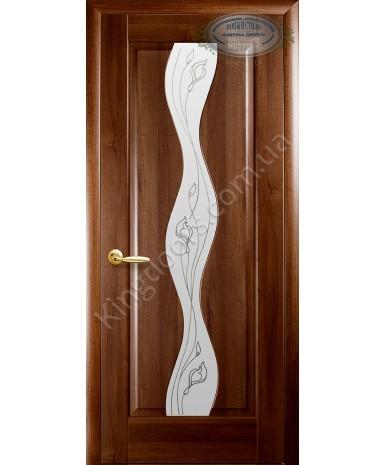 """Межкомнатные двери """"Волна"""",ПО +Р2. пленка ПВХ, фабрика """"Новый стиль"""", цвет - золотая ольха."""