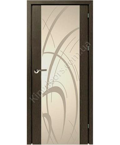 """Межкомнатные шпонированные двери """"Глазго с рисунком"""" ПО.  НСД. Цвет - венге"""