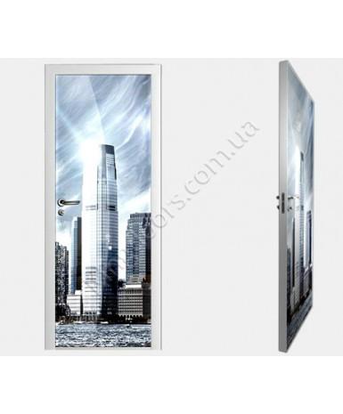 """Межкомнатные стеклокаркасные двери. Модель """"02 F"""". Фабрика Аксиома. Покрытие зеркало. фотопечать"""