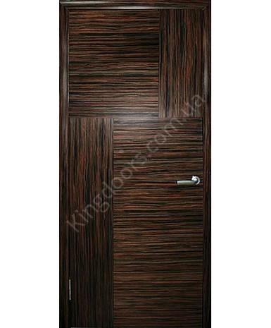 """Межкомнатные шпонированные двери """"Маркетри 2"""" ПГ.  WoodOk. Цвет - эбен крупноструктурный"""