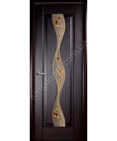 """Межкомнатные двери """"Волна"""",ПО +Р1. пленка ПВХ, фабрика """"Новый стиль"""", цвет - венге."""