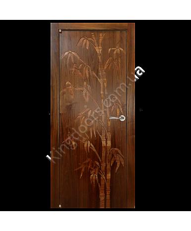 """Межкомнатные шпонированные двери """"Бамбук"""" ПГ с фрезеровкой.  WoodOk. Цвет - американский орех"""