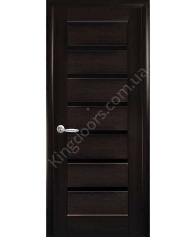 """Межкомнатные двери """"Линнея"""",ПО черным стеклом, пленка ПВХ, фабрика """"Новый стиль"""", цвет - венге new."""