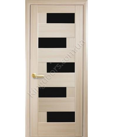"""Межкомнатные двери """"Пиана"""",ПО BLK черным стеклом, пленка ПВХ, фабрика """"Новый стиль"""", цвет - ясень."""
