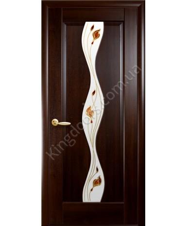 """Межкомнатные двери """"Волна"""",ПО +Р1. пленка ПВХ, фабрика """"Новый стиль"""", цвет - каштан."""