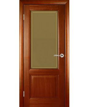"""Межкомнатные шпонированные двери """"Парламент"""" ПО с фацетом.  WoodOk. Цвет - маккоре"""