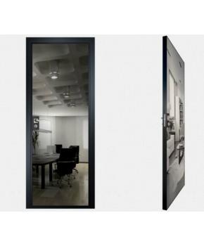 """Межкомнатные стеклокаркасные двери. Модель """"00 G"""". Фабрика Аксиома. Покрытие зеркало. Цвет графит"""