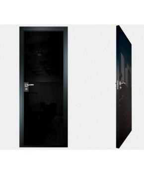 """Межкомнатные стеклокаркасные двери. Модель """"00 MB"""". Фабрика Аксиома. Покрытие зеркало. Цвет моноколор черный"""