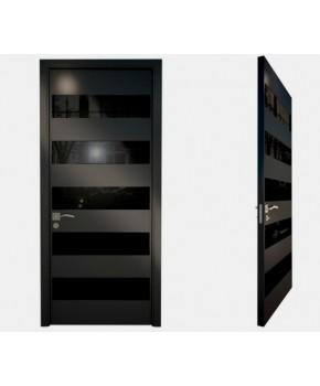 """Межкомнатные стеклокаркасные двери. Модель """"02 LP"""". Фабрика Аксиома. Серия Лайн. Покрытие зеркало. Цвет черный"""