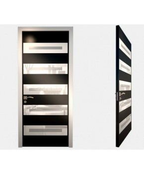 """Межкомнатные стеклокаркасные двери. Модель """"05 LP"""". Фабрика Аксиома. Серия Лайн. Покрытие зеркало. Цвет черный"""