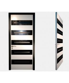 """Межкомнатные стеклокаркасные двери. Модель """"07 LP"""". Фабрика Аксиома. Серия Лайн. Покрытие зеркало. Цвет белый"""