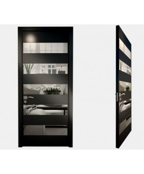 """Межкомнатные стеклокаркасные двери. Модель """"10 LP"""". Фабрика Аксиома. Серия Лайн. Покрытие зеркало. Цвет черный"""
