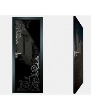 """Межкомнатные стеклокаркасные двери. Модель """"05 MB"""". Фабрика Аксиома. Покрытие зеркало. Цвет моноколор черный"""
