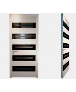 """Межкомнатные стеклокаркасные двери. Модель """"11 LP"""". Фабрика Аксиома. Серия Лайн. Покрытие зеркало. Цвет белый"""