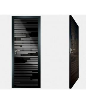 """Межкомнатные стеклокаркасные двери. Модель """"06 MB"""". Фабрика Аксиома. Покрытие зеркало. Цвет моноколор черный"""