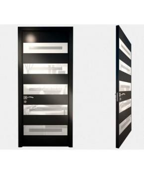 """Межкомнатные стеклокаркасные двери. Модель """"12 LP"""". Фабрика Аксиома. Серия Лайн. Покрытие зеркало. Цвет черный"""