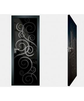 """Межкомнатные стеклокаркасные двери. Модель """"08 MB"""". Фабрика Аксиома. Покрытие зеркало. Цвет моноколор черный"""