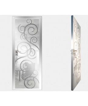 """Межкомнатные стеклокаркасные двери. Модель """"08 MW"""". Фабрика Аксиома. Покрытие зеркало. Цвет моноколор белый"""