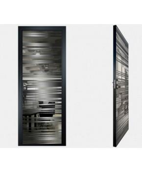 """Межкомнатные стеклокаркасные двери. Модель """"09 G"""". Фабрика Аксиома. Покрытие зеркало. Цвет графит"""