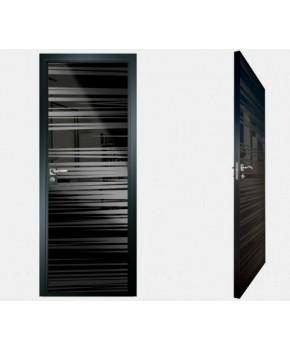 """Межкомнатные стеклокаркасные двери. Модель """"09 MB"""". Фабрика Аксиома. Покрытие зеркало. Цвет моноколор черный"""