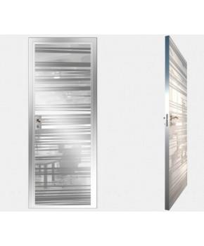"""Межкомнатные стеклокаркасные двери. Модель """"09 MW"""". Фабрика Аксиома. Покрытие зеркало. Цвет моноколор белый"""