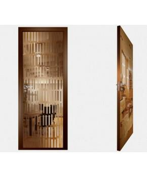 """Межкомнатные стеклокаркасные двери. Модель """"10 В"""". Фабрика Аксиома. Покрытие зеркало. Цвет бронза"""