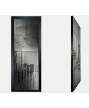 """Межкомнатные стеклокаркасные двери. Модель """"12 G"""". Фабрика Аксиома. Покрытие зеркало. Цвет графит"""