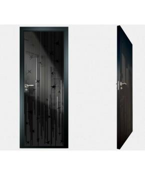 """Межкомнатные стеклокаркасные двери. Модель """"12 MB"""". Фабрика Аксиома. Покрытие зеркало. Цвет моноколор черный"""