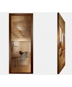 """Межкомнатные стеклокаркасные двери. Модель """"13 В"""". Фабрика Аксиома. Покрытие зеркало. Цвет бронза"""