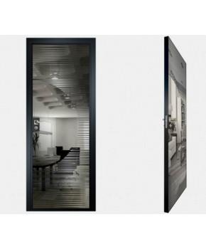 """Межкомнатные стеклокаркасные двери. Модель """"13 G"""". Фабрика Аксиома. Покрытие зеркало. Цвет графит"""